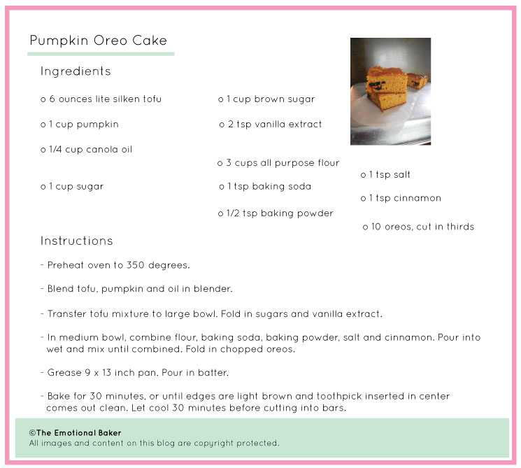 Pumpkin Oreo Cake Recipe