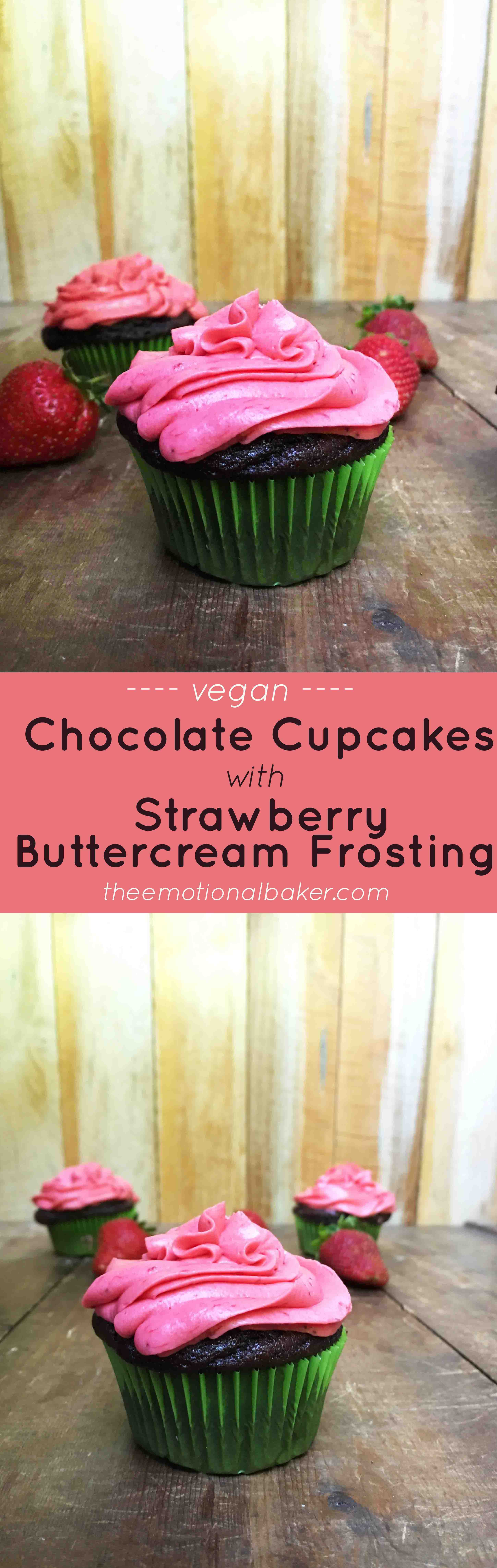 Vegan} Chocolate Cupcakes With Strawberry Buttercream Frosting ...