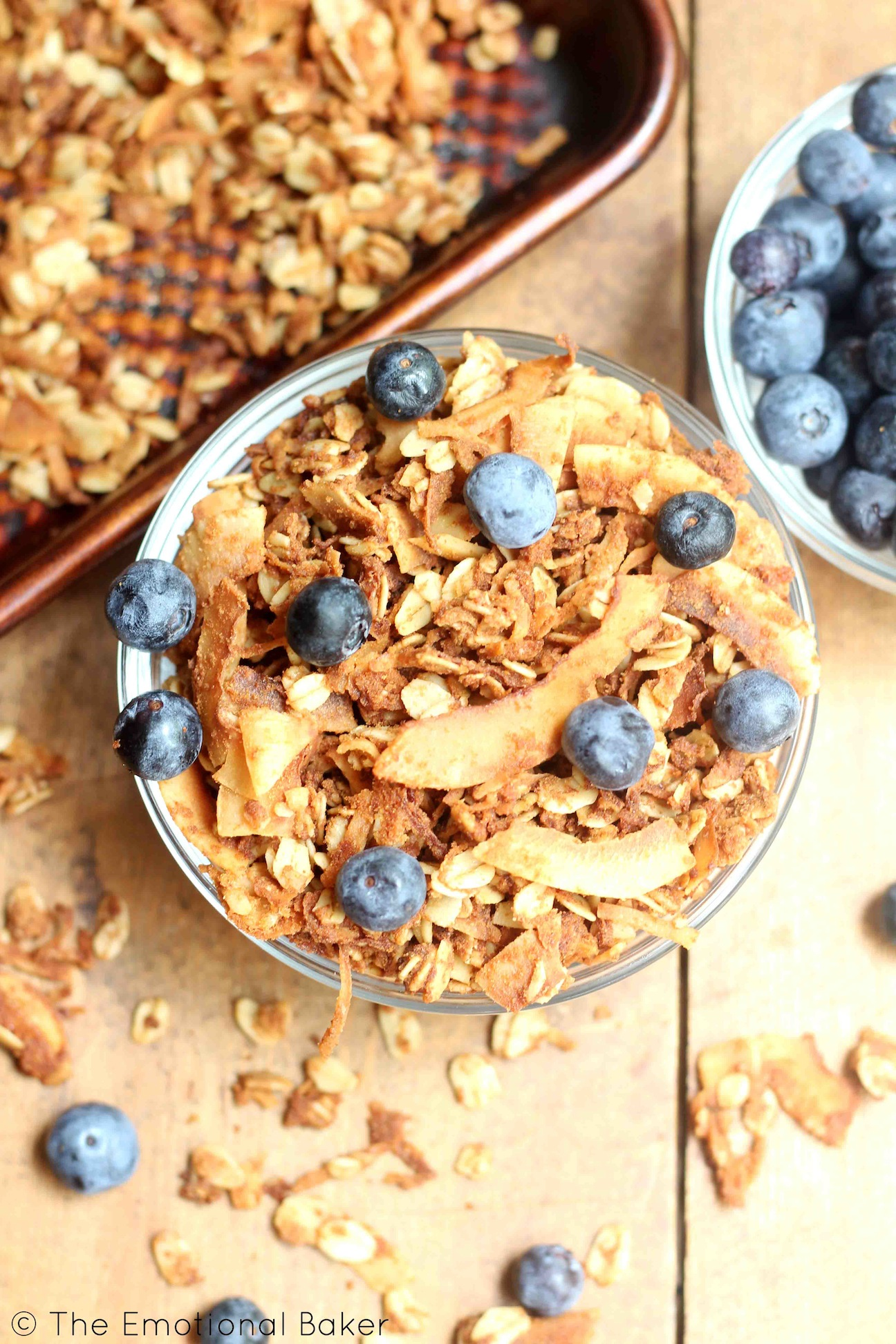 The ultimate coconut lover's granola - made with coconut oil, coconut flour, coconut sugar - and of course - lots of crunchy coconut flakes!
