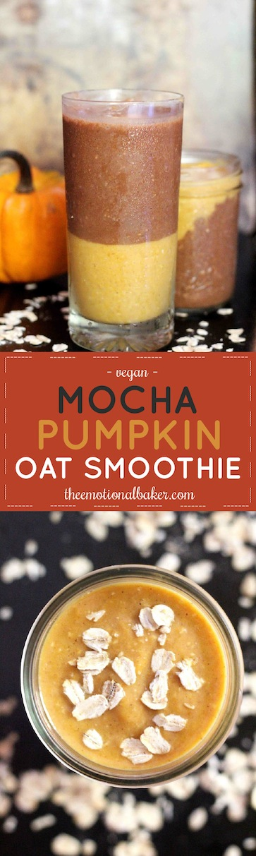 Start your day with this Mocha Pumpkin Smoothie. It features layers of mocha oat smoothie and pumpkin oat smoothie - the perfect filling fall breakfast with a caffeine kick!