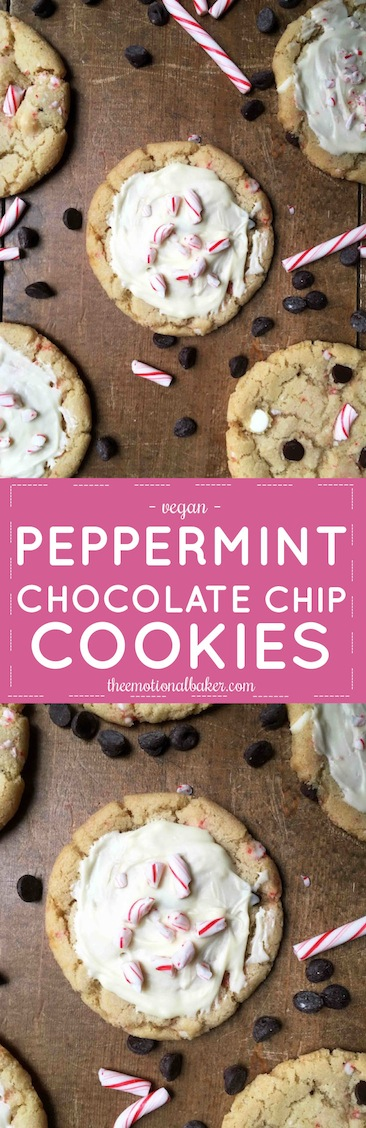 Chocolate chip cookies receive a makeover just in time for Christmas! These Peppermint Chocolate Chip Cookies include crushed candy canes and a sweet topping.
