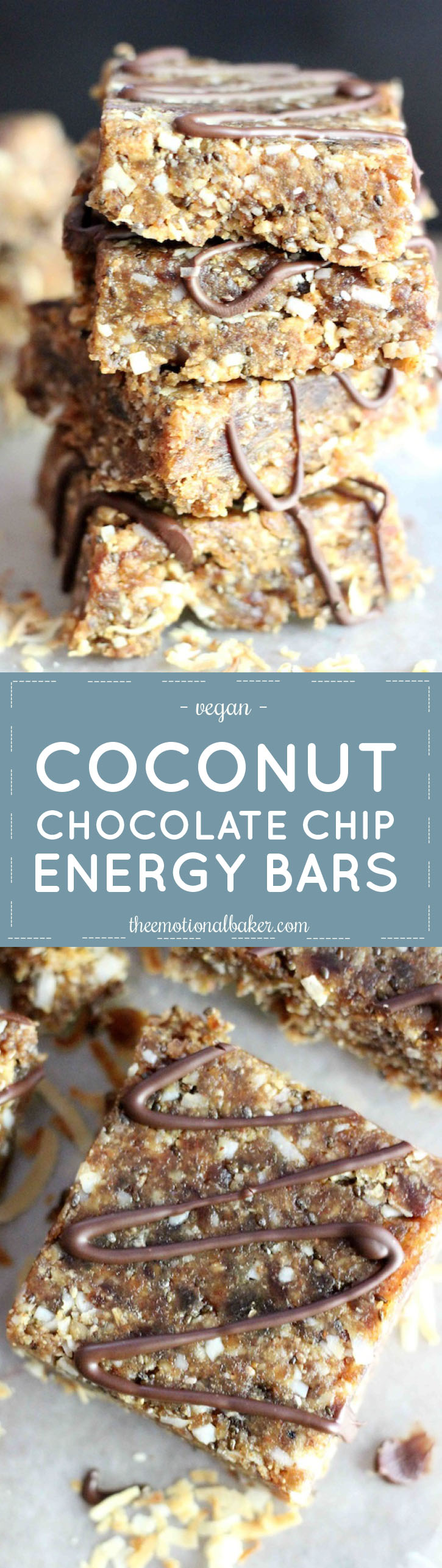 These Coconut Chocolate Chip Energy Bars satisfy your chocolate cravings with an energy boost. These energy bars are made with wholesome ingredients including dates, almond butter and chia seeds.