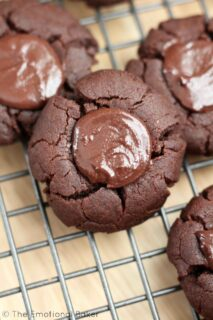 Chocolate Tahini Thumbprint Cookies