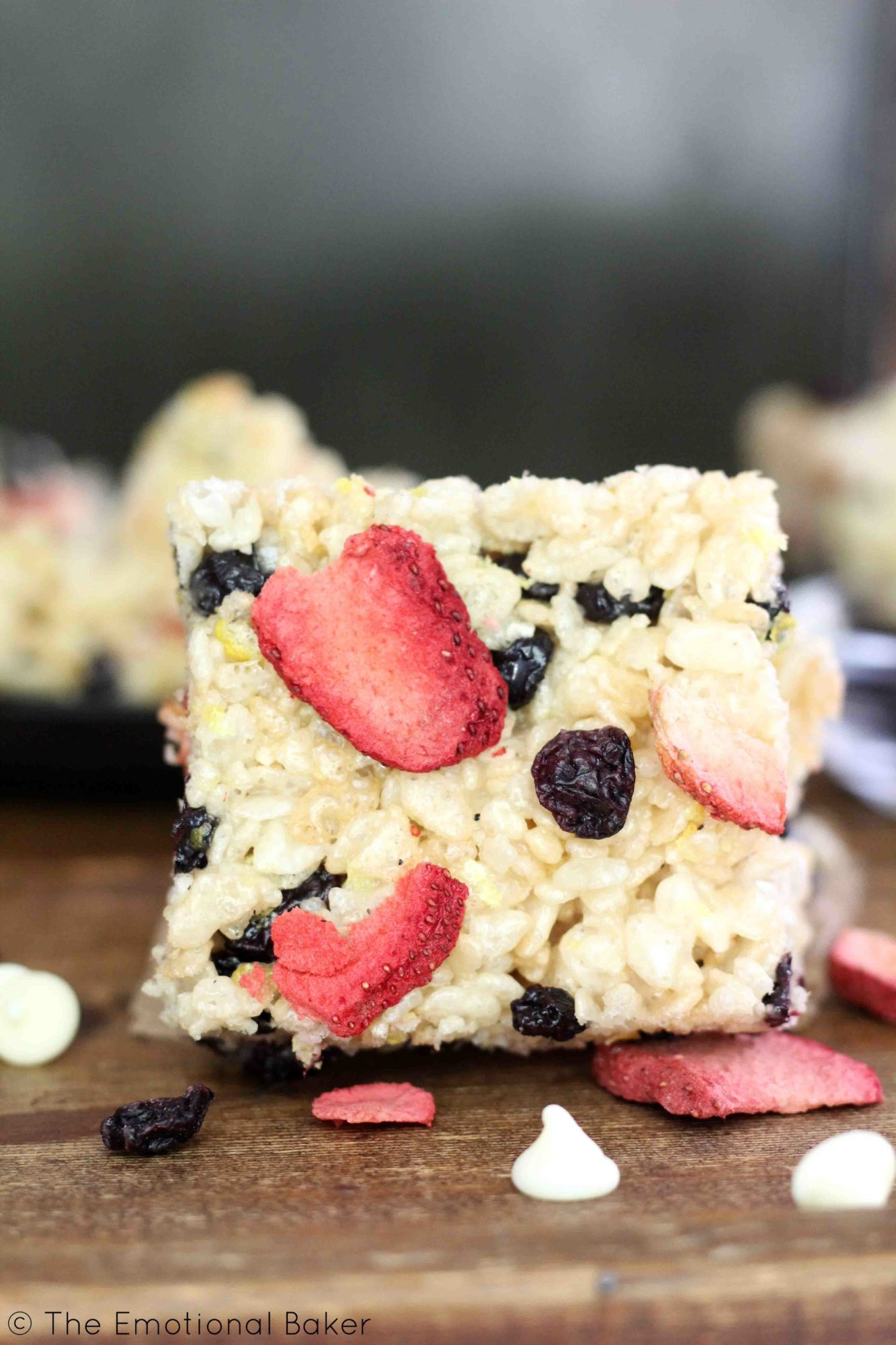 Rice Krispie Treats get an update with lemon zest, dried blueberries, freeze dried strawberries and white chocolate