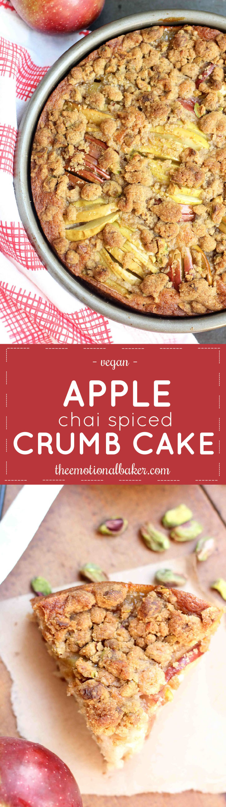 This Apple Cake is packed with flavor and perfect for fall. You'll love the chai spices and pistachio crumb topping!