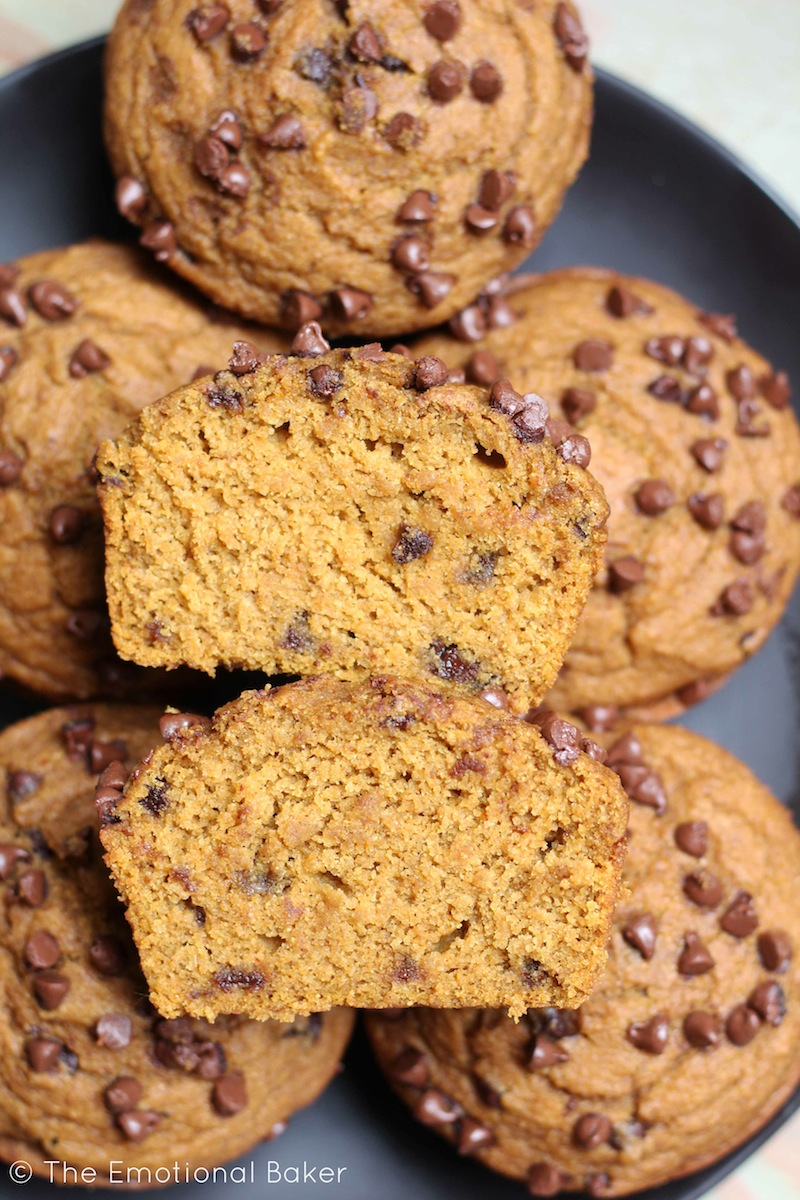 These vegan Pumpkin Muffins are loaded with gingerbread flavor and lots of chocolate chips.