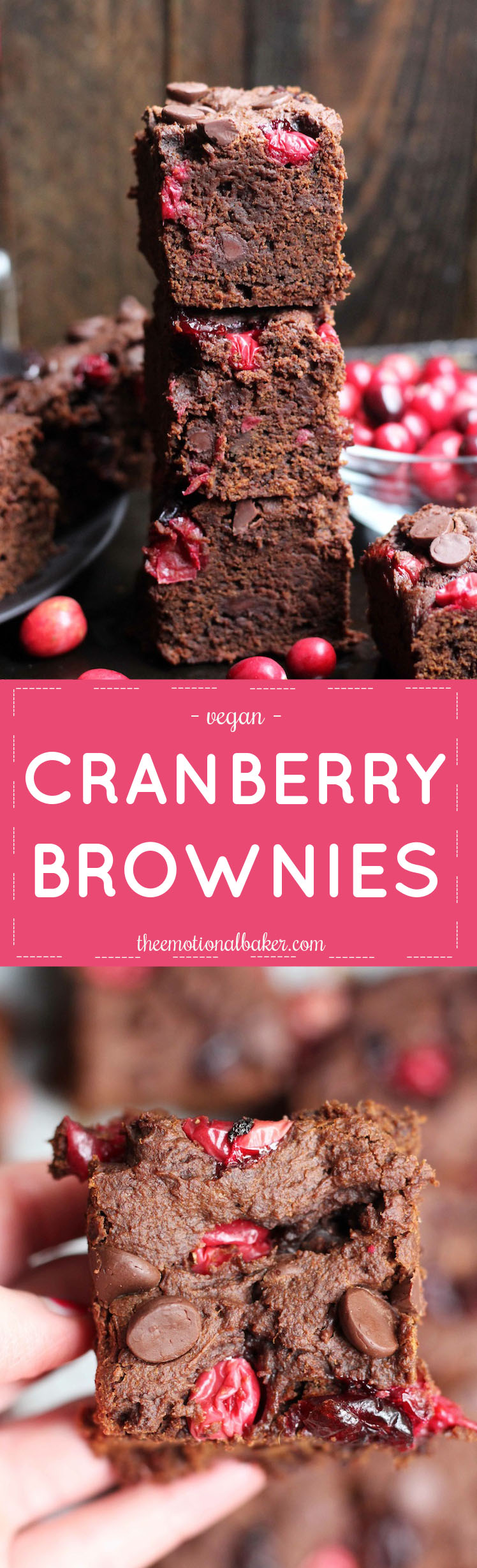These Vegan Cranberry Brownies are the perfect combo of cake-y and fudge-y. They are loaded with fresh cranberries and chocolate!
