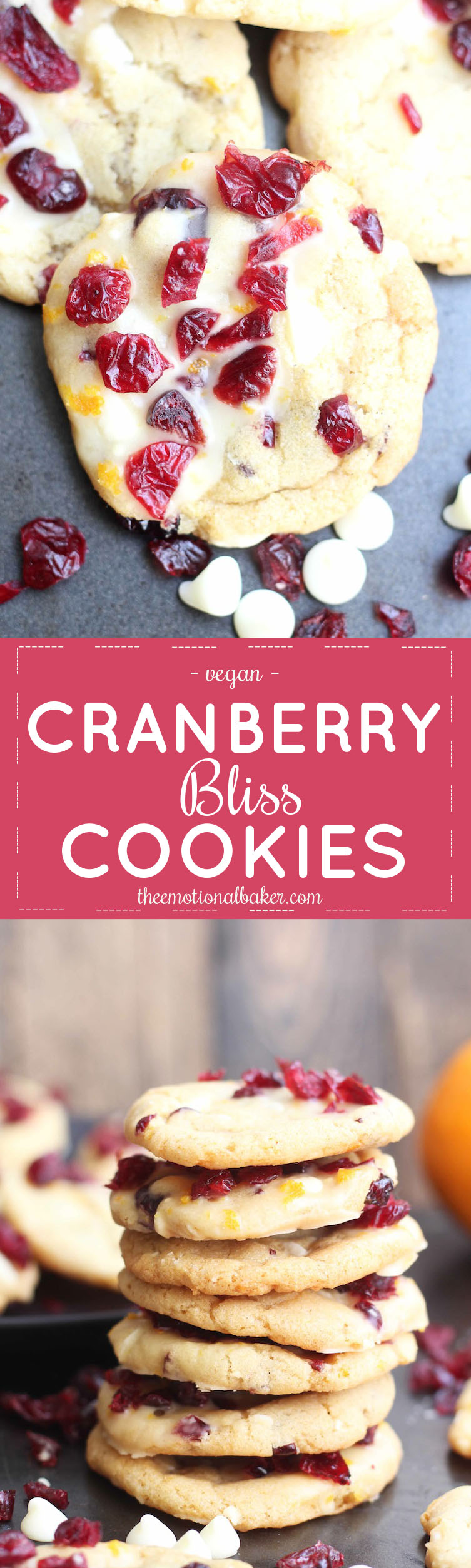 These Cranberry Bliss Cookies are inspired by the popular holiday bar. They are packed with cranberries, white chocolate, citrus and a touch of ginger.
